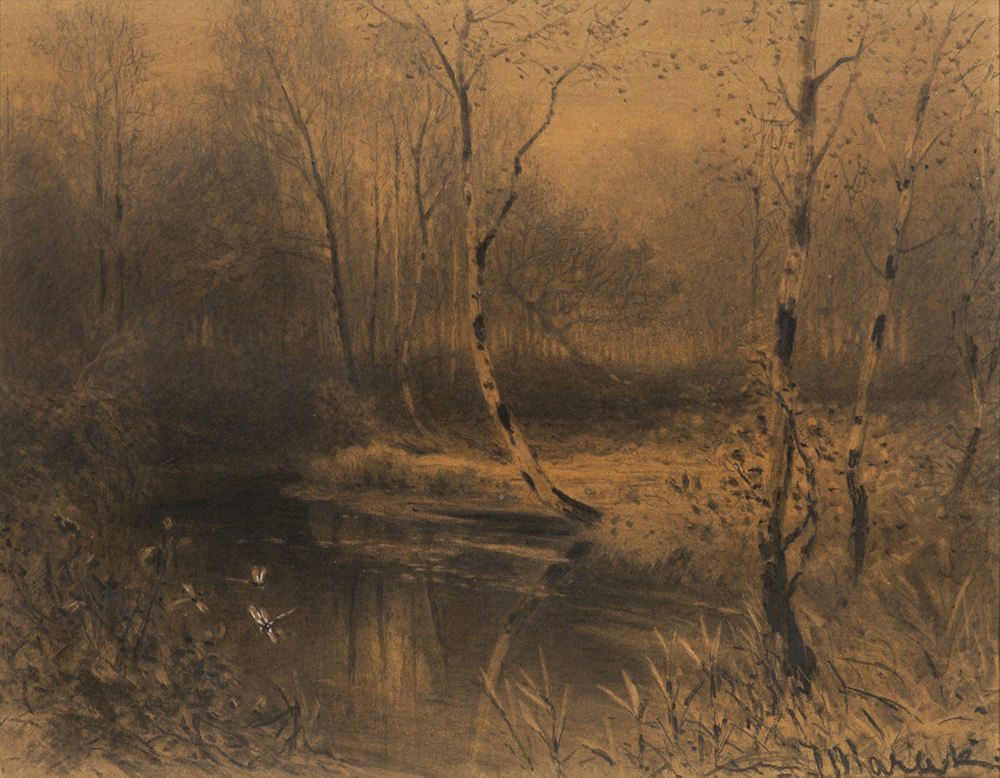 JULIUS MARAK (1832-1899): WOODED POND AT EVENING 1872-1875 24x30,5 cm Charcoal on paper. Signed