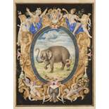 ANONYM: PARCHMENT WITH AN ELEPHANT Around 1600 25x18,5 cm Watercolor, gouache and gilding on