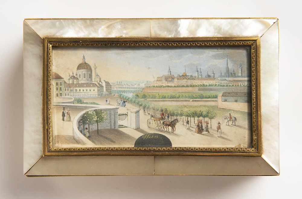 BALTHAZAR WIGAND (1771-1846): A BOX WITH A MINIATURE 1820-1830; Austria-Hungary, Vienna 4x14x9 cm - Image 2 of 3