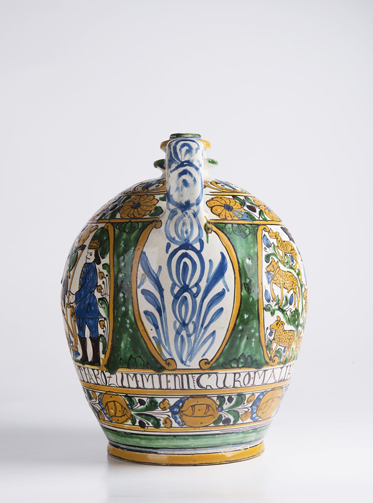 A POST-HABAN JUG OF THE GUILD OF WHEELWRIGHTS 32 cm A jug with a single handle at the top and narrow - Image 4 of 6