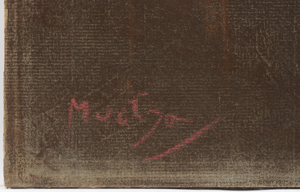 ALFONS MUCHA (1860-1939): DREAMING Around 1900 32,2x38,3 cm Pastel on grey paper. Signed lower - Image 2 of 2