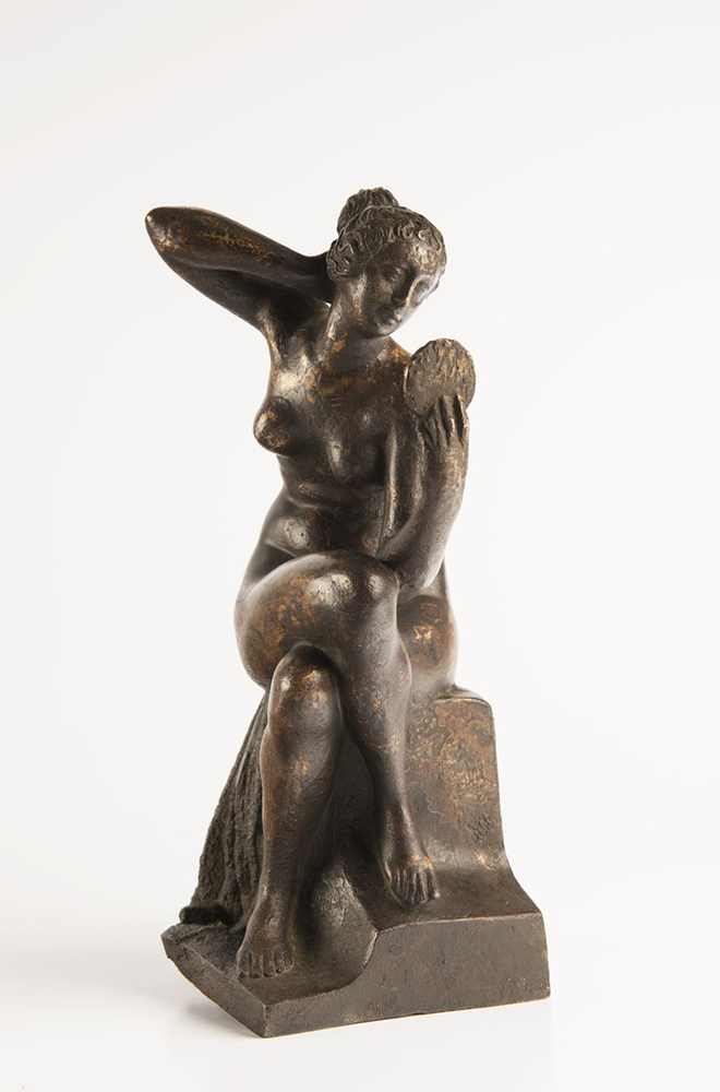 UNKNOWN ITALIAN MASTER: ALLEGORY OF VANITY Late Renaissance, around 1600; Italy 26 cm Patinated - Image 2 of 2