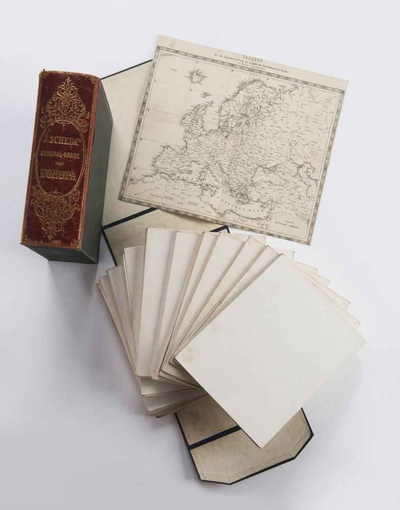 JOSEPH VON SCHEDA (1815-1888): GENERAL-KARTE VON EUROPA 1859, Austria-Hungary, Vienna 21,5x18,5x7,