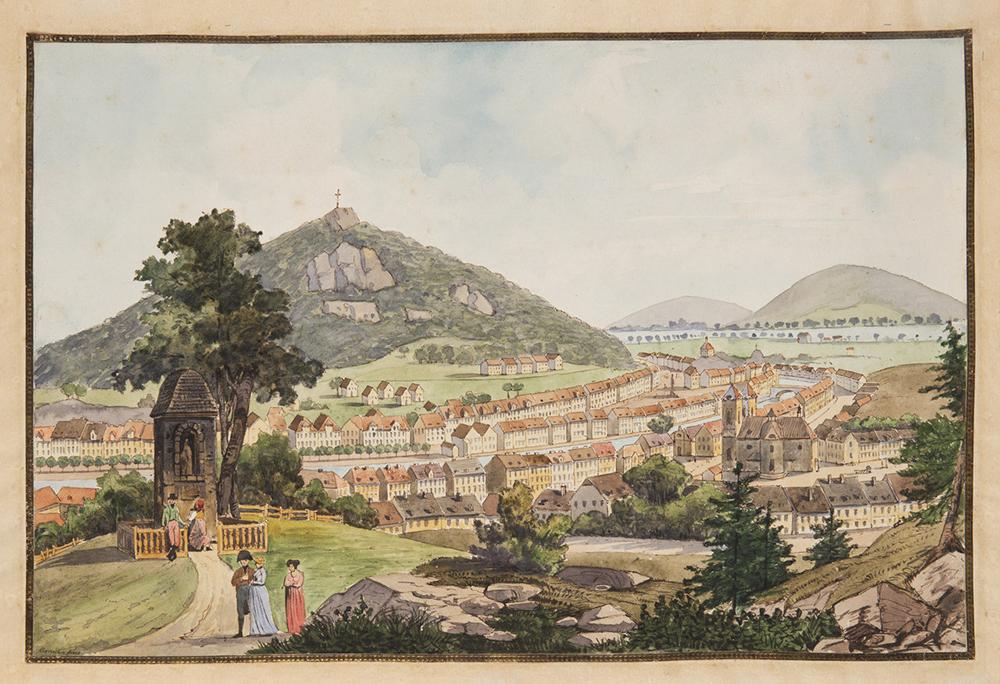 LAURENZ JANSCHA (1749-1812): CARLSBAD Around 1800 32x47 cm Watercolor, pen and ink, paper. Sign.