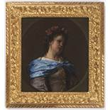 FRANCESCO GUARDI (1712-1793): PORTRAIT OF A YOUNG LADY 1780s; Italy 18x16,5 cm Oil, canvas on wood