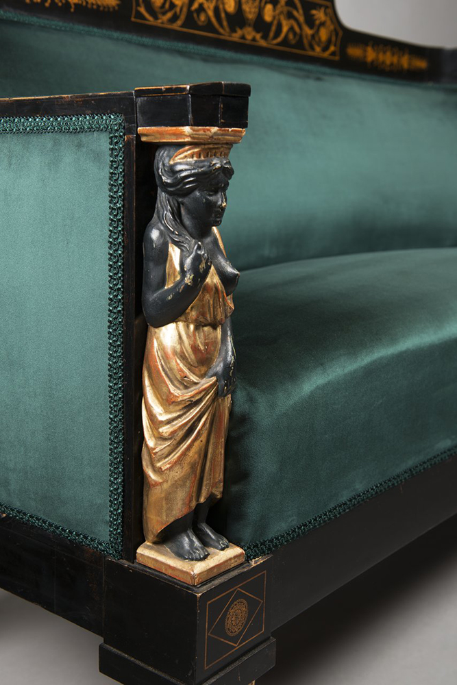 A SET OF EMPIRE FURNITURE 1815; Austria, Vienna Pear, blackened, polished, polychrome and gilded - Image 3 of 6