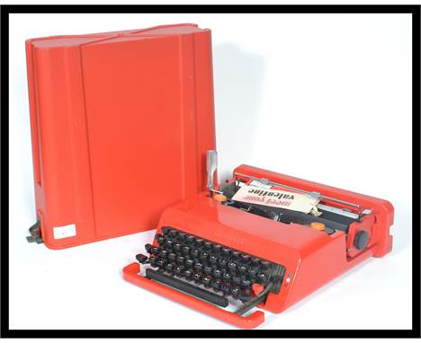 A vintage retro 20th century industrial Italian Valentine portable typewriter designed by Ettore Sottsass for Olivetti, 1969,