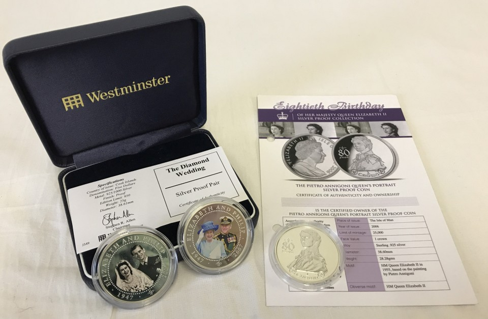 Lot 23 - 3 Royal commemorative silver proof coins.
