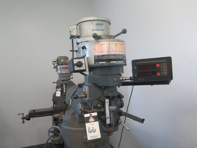 Lot 66 - Birmingham Vertical Mill w/ Sargon Prospector DRO, 90-5600 RPM, 16-Speeds, Chrome Ways, Power