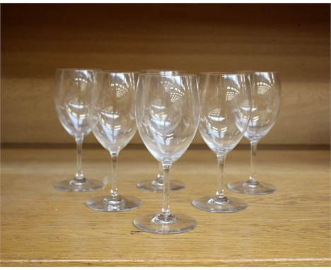 A set of six Baccarat French crystal white wine glasses, engraved Baccarat to each base.