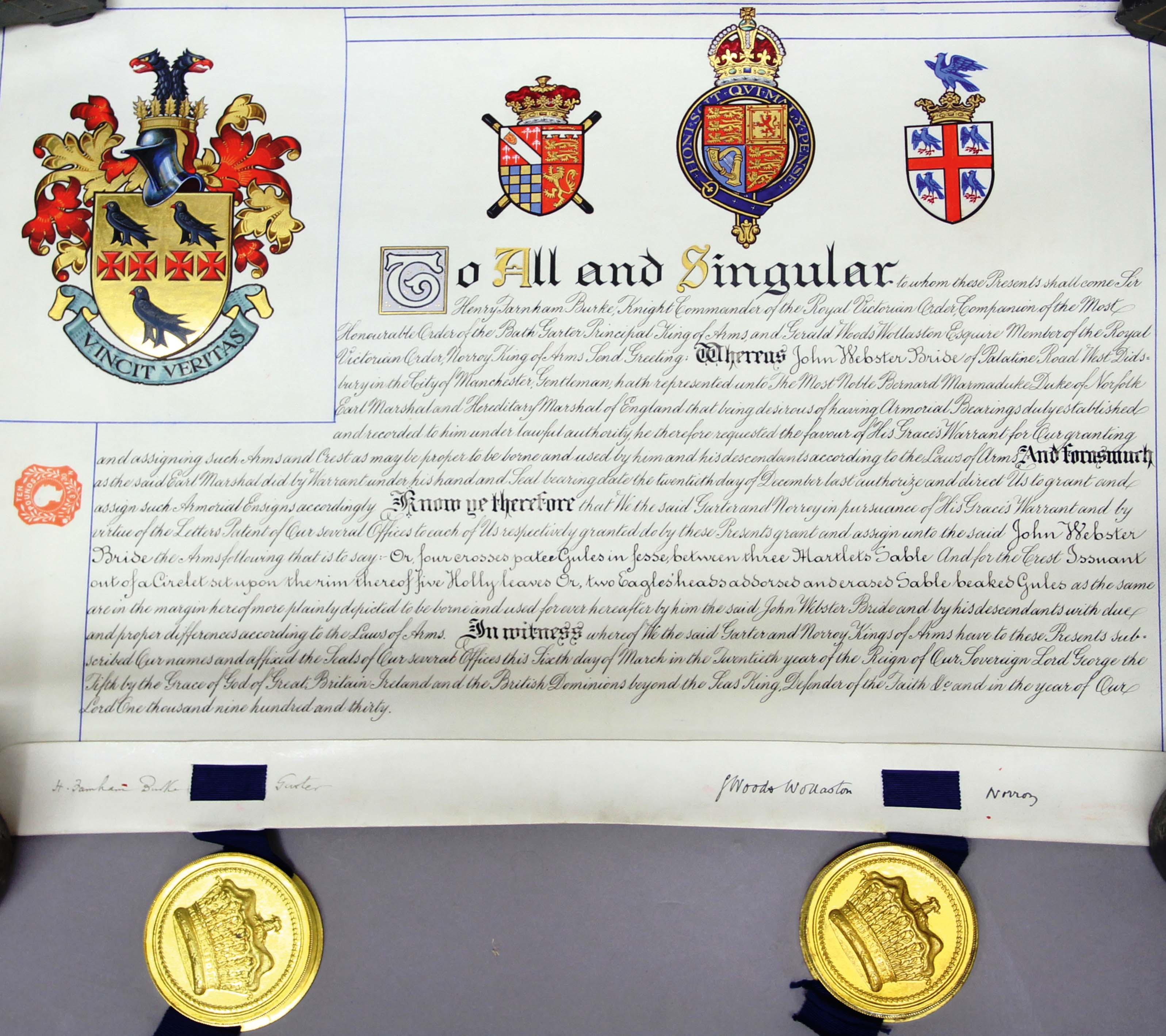 Lot 1967 - CASED GRANT OF ARMS, to John Webster Bride dated 6th March 1930, on vellum, with a large gilt
