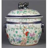 Chinese large porcelain tureen, birds perched on flowering branches above peonies, lid decorated