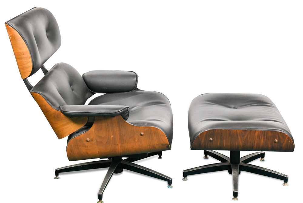 Lot 7236 - (lot of 2) Eames style chair with ottoman