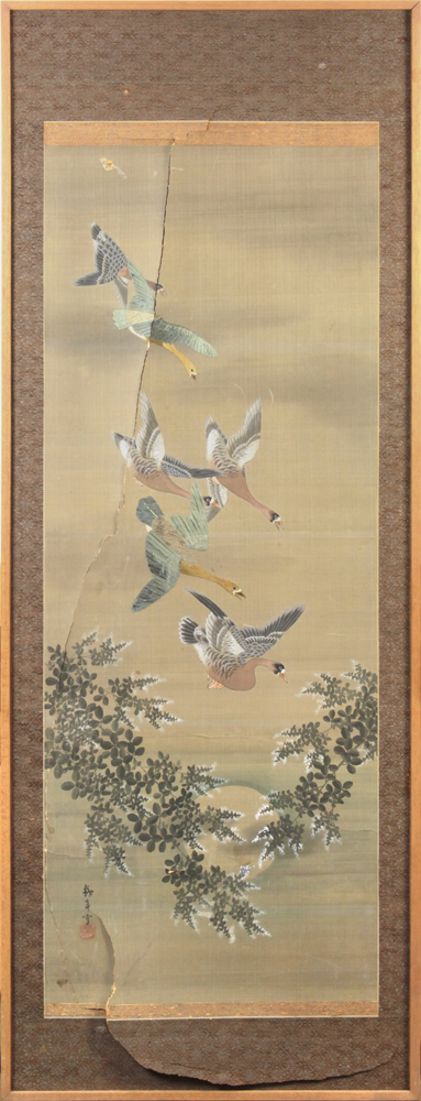 Japanese panel, ink, color and embroidery on silk, depicting wild geese, lower left with the