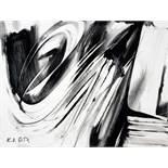 Karl Otto Götz. Komposition. Gouache. 1988. 24,9 : 32,5 cm. Signiert, rückseitig nochmals signiert