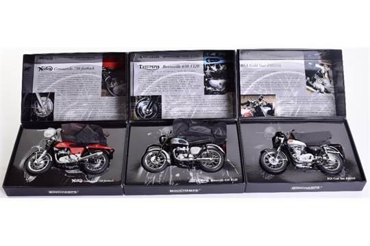 Three Minichamps Classic Bike Models, 1:12 Scale Norton