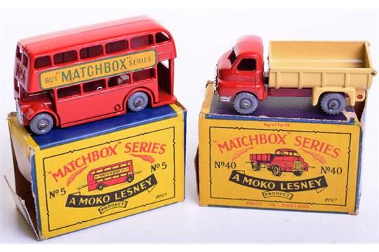 Two Matchbox Moko Lesney Boxed regular wheels, 5b London Bus