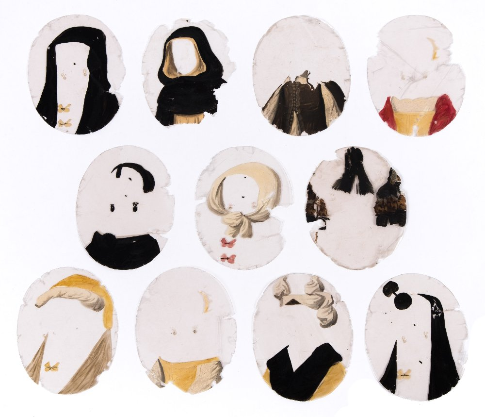 Lot 31 - A group of eleven early 19th century oval mica hand painted transformation slides:,