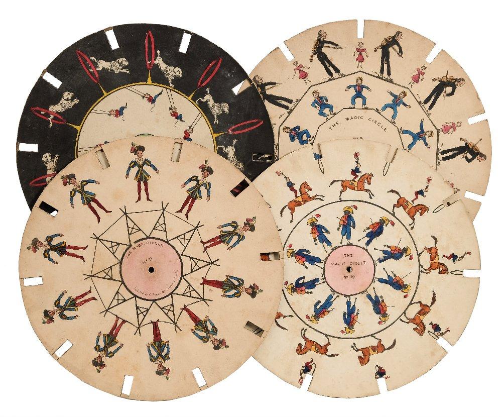 Lot 19 - Phenakistoscope- a group of three 'The Magic Circle' discs:, comprising No.