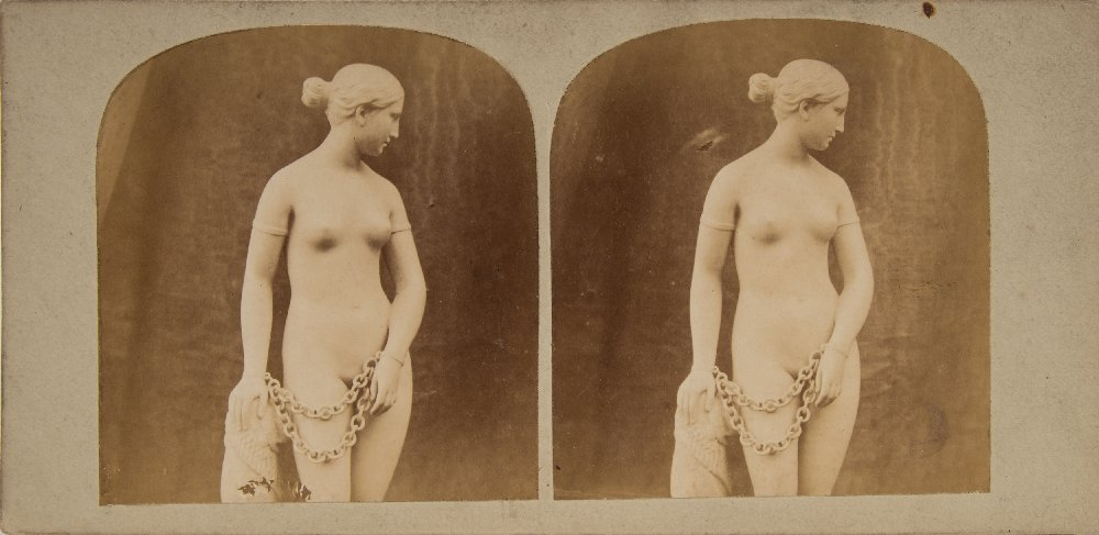 Lot 58 - Great Exhibition 1851 a stereoscope photograph of 'The Greek Slave' marble statue by Hiram Powers:,