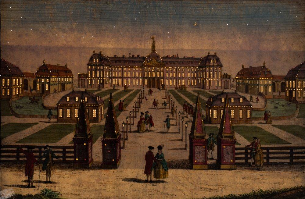 Lot 6 - Vu du Optique : Versailles, hand coloured copper engraving 27.5 x 40cm.