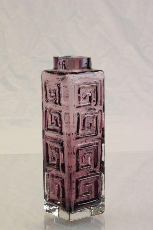 Lot 16 - Whitefriars Aubergine Greek Key vase by Geoffrey Baxter