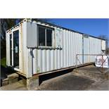 40ft steel container type site office, fitted 4 windows, double patio doors, two internal offices,..
