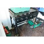 Two steel frame gas fired hot plates, approx 1000mm length (please note: working condition unknown)