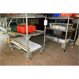 Two mobile steel 3 shelf trolleys (excludes contents)