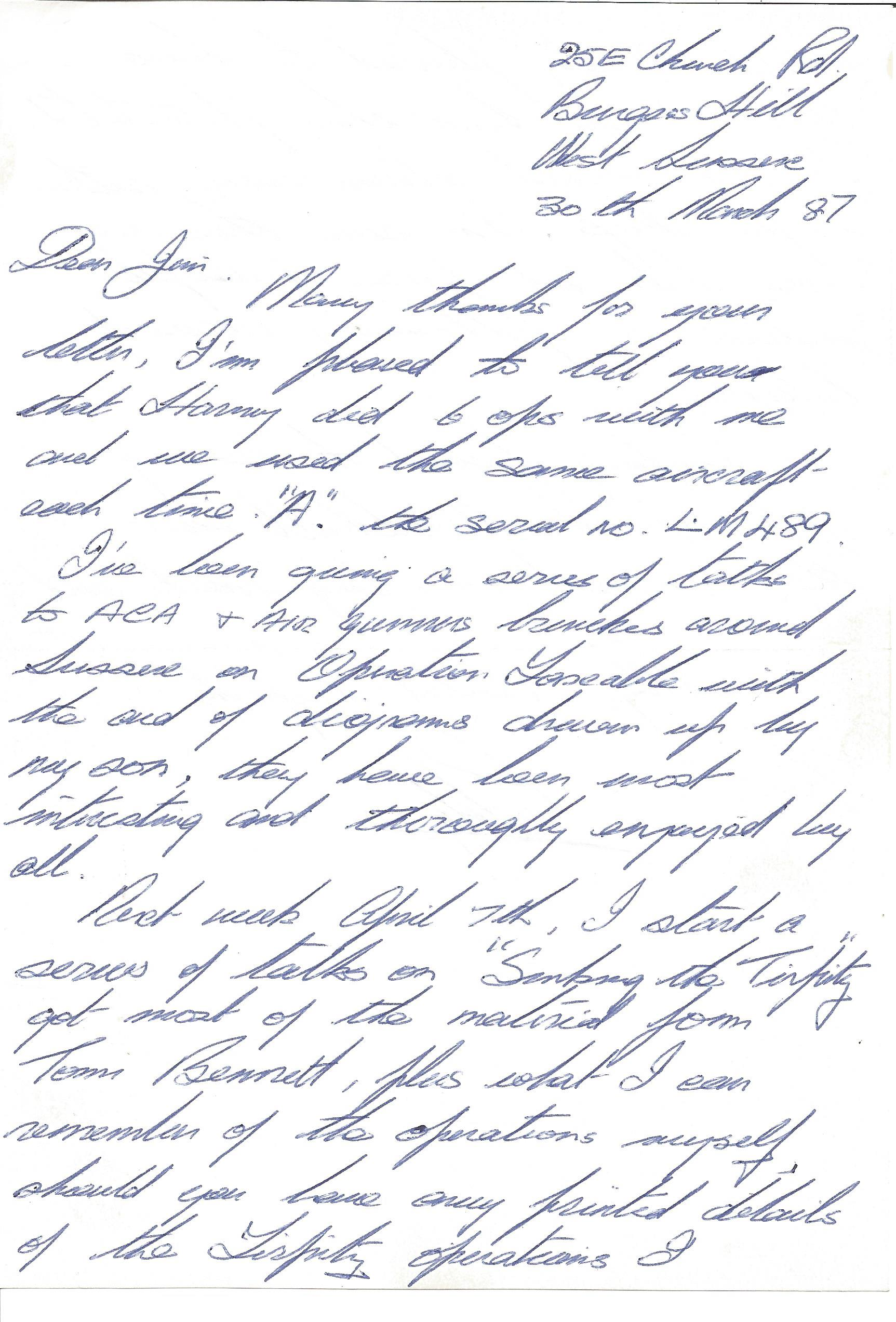 Lot 17 - Paddy Gingles 617 sqn WW2 Tirpitz raid hand written letter about operations he took with Harry
