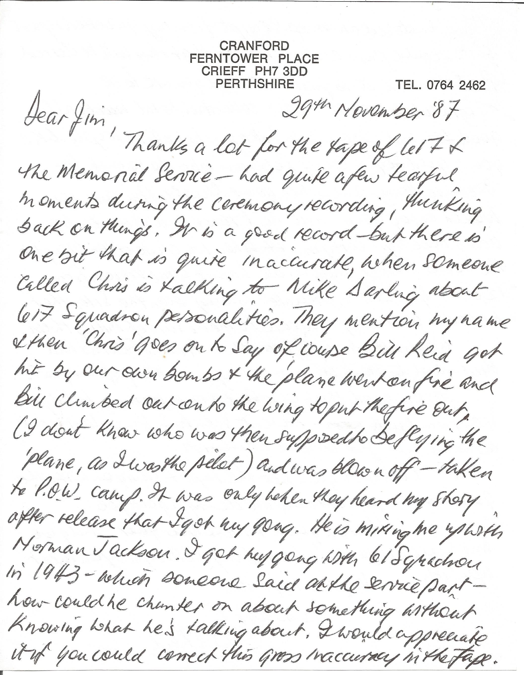 Lot 22 - Bill Reid VC 617 Sqn pilot hand written letter with great detail on him being confused with Norman