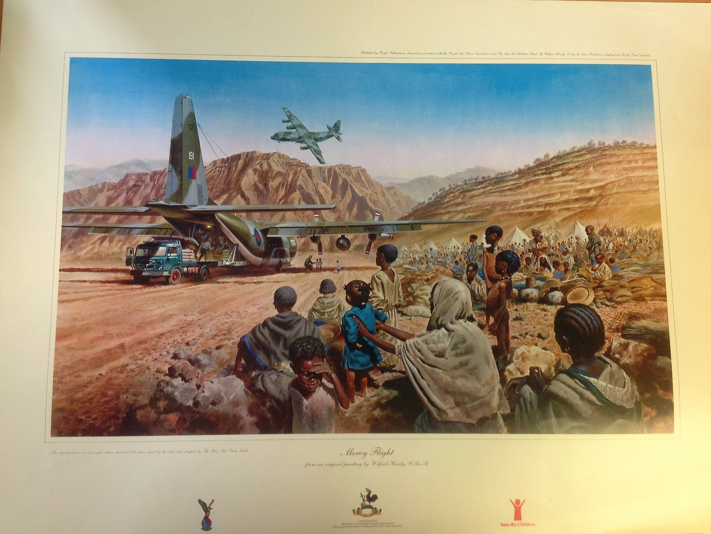 Lot 58 - Military Print approx. 32x24 RAF print titled Mercy Flight by the artist Wilfred Hardy this