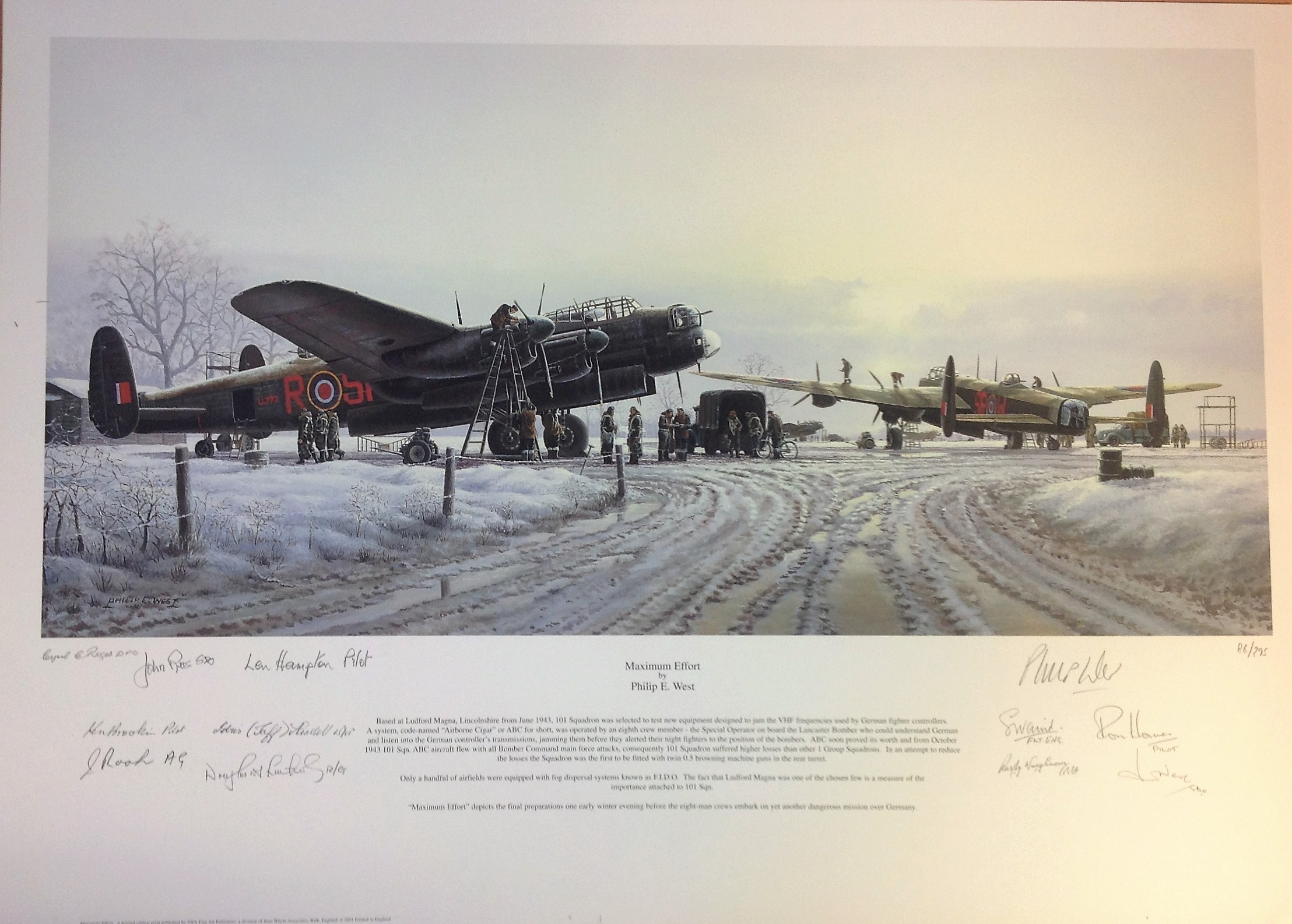 Lot 42 - World War Two Lancaster print 20x28 titled Maximum Effort signed in pencil by the artist Phillip