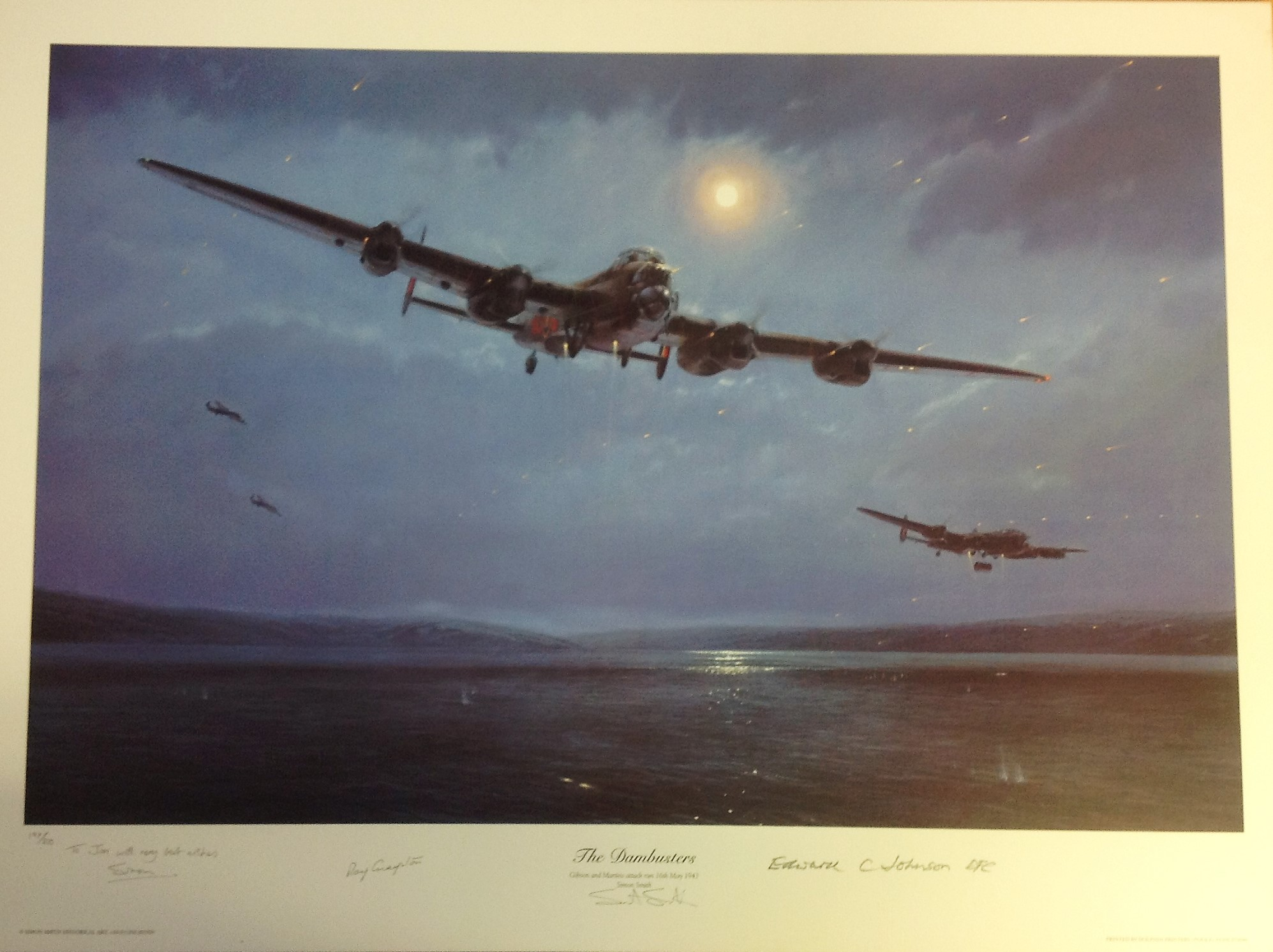 Lot 48 - Dambusters World War Two Print 21x27 titled The Dambusters Gibson and Martins attack run 16th May