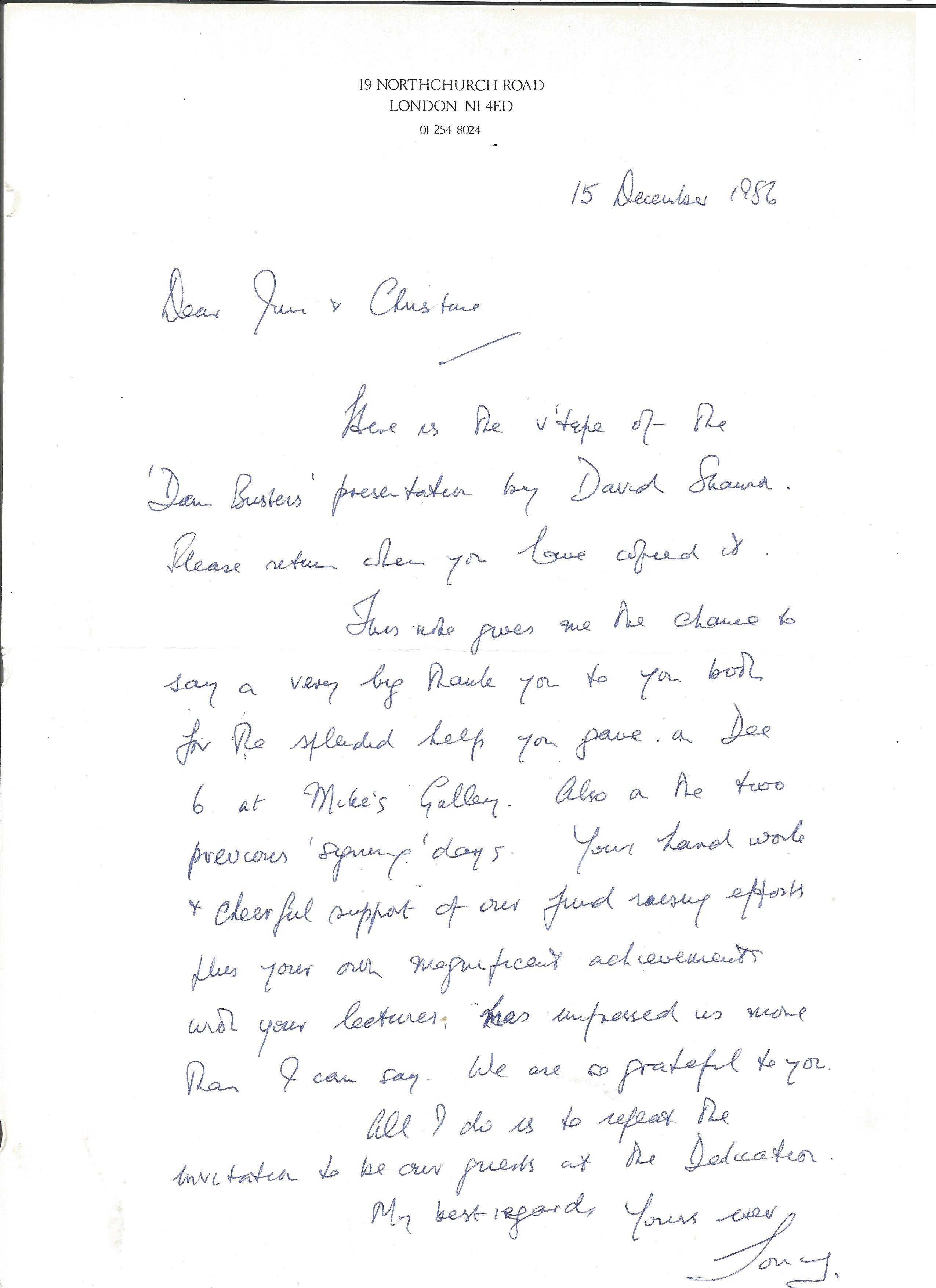Lot 23 - Tony Iveson DFC 617 Sqn pilot hand written letter regarding Dambusters presentation.