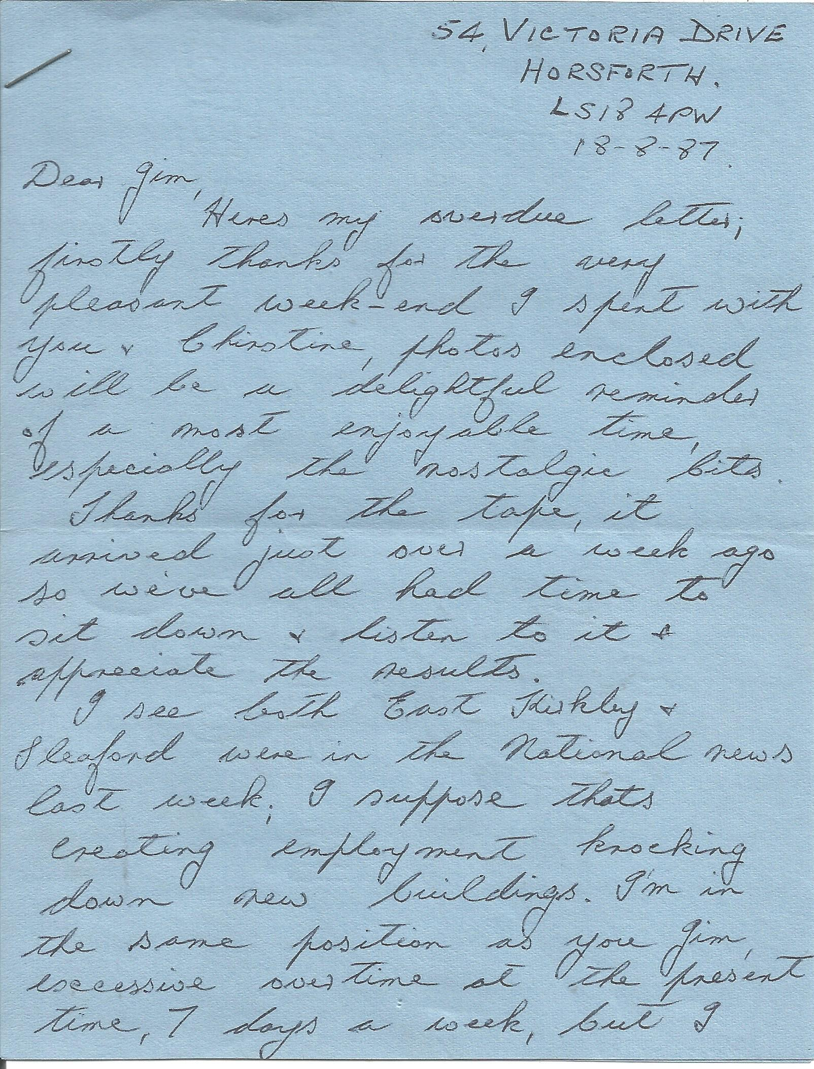 Lot 30 - Harry Johnson 617 Sqn WW2 Tirpitz raid hand written letter. From the Jim Shortland 617 Sqn Historian
