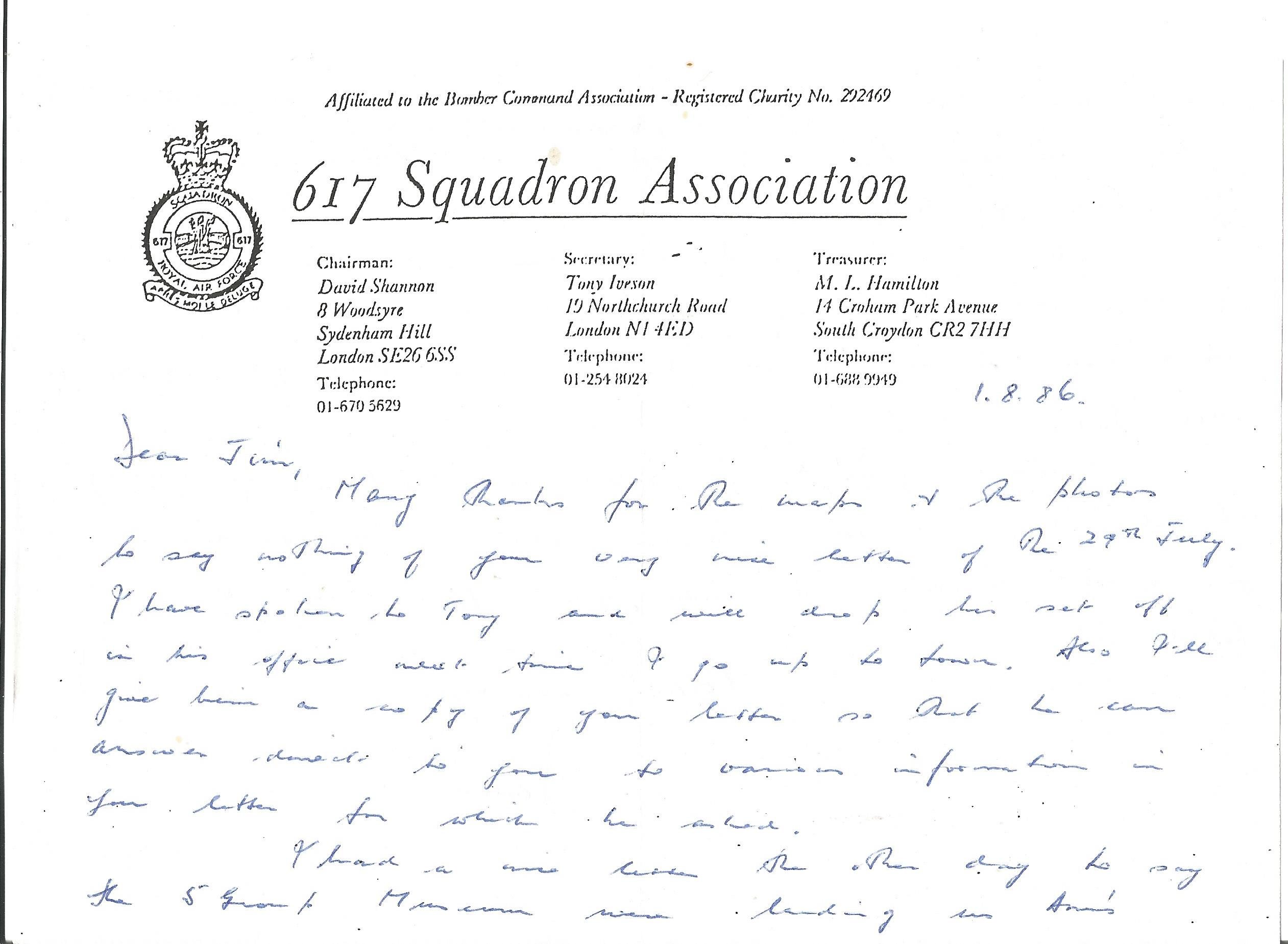 Lot 25 - David Shannon 617 Sqn WW2 Dambuster raid pilot hand written letter on 617 Sqn Association notepaper.