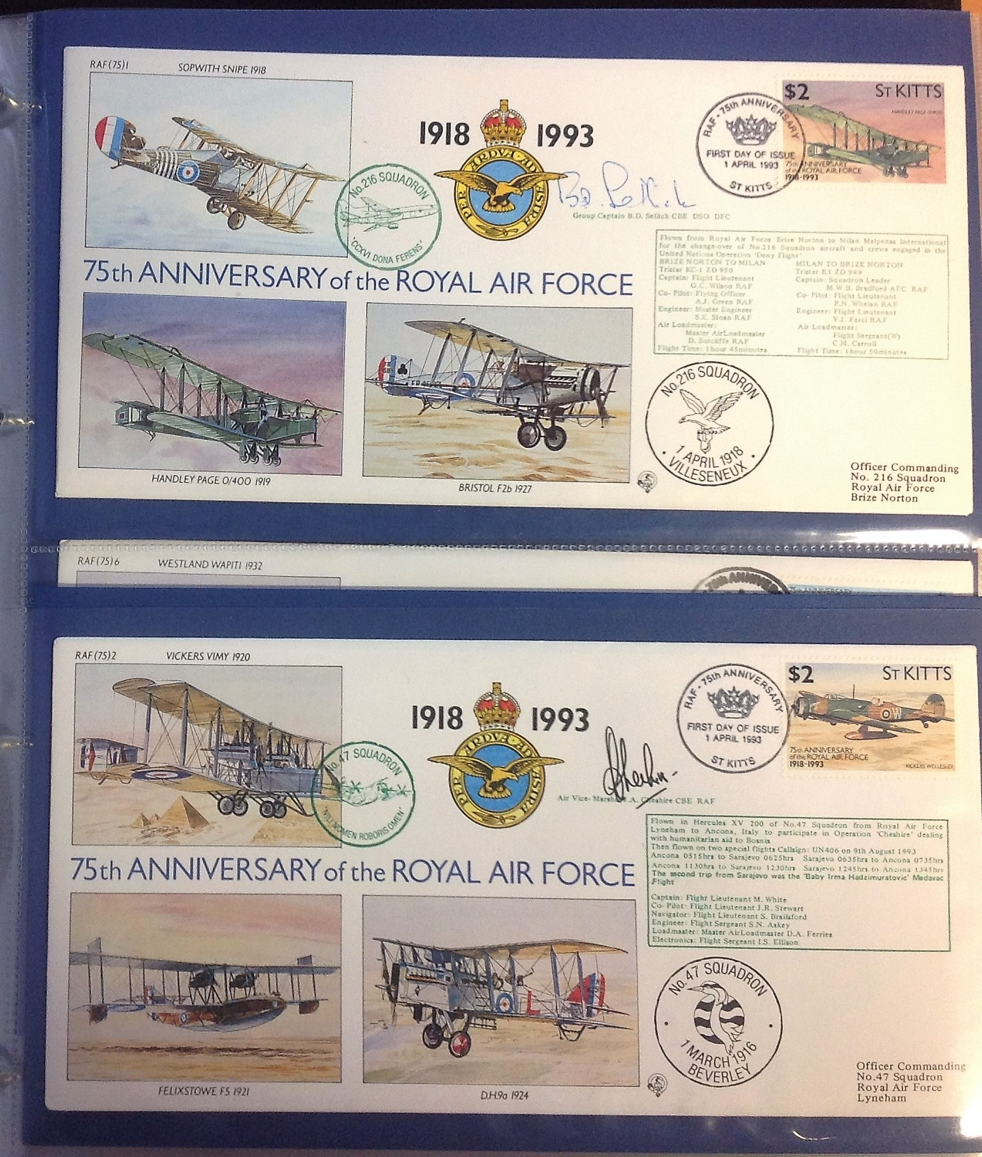 Lot 5 - 75th Ann RAF VIP signed collection. Complete set of the 30 covers in an Album. Covers are all