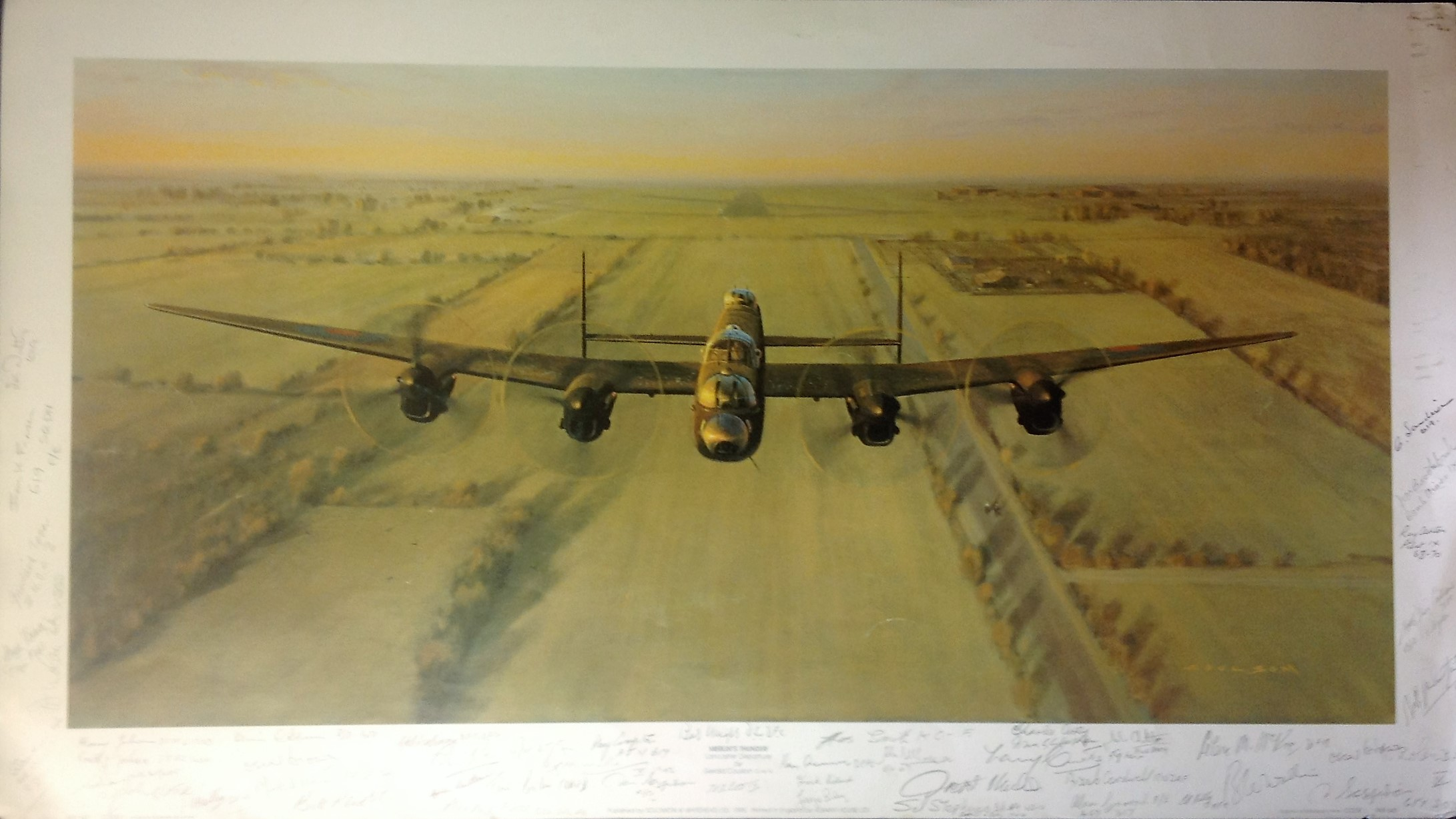 Lot 40 - World War Two Print 18x31 titled Merlins Thunder signed in pencil by the artist Gerald Coulson and