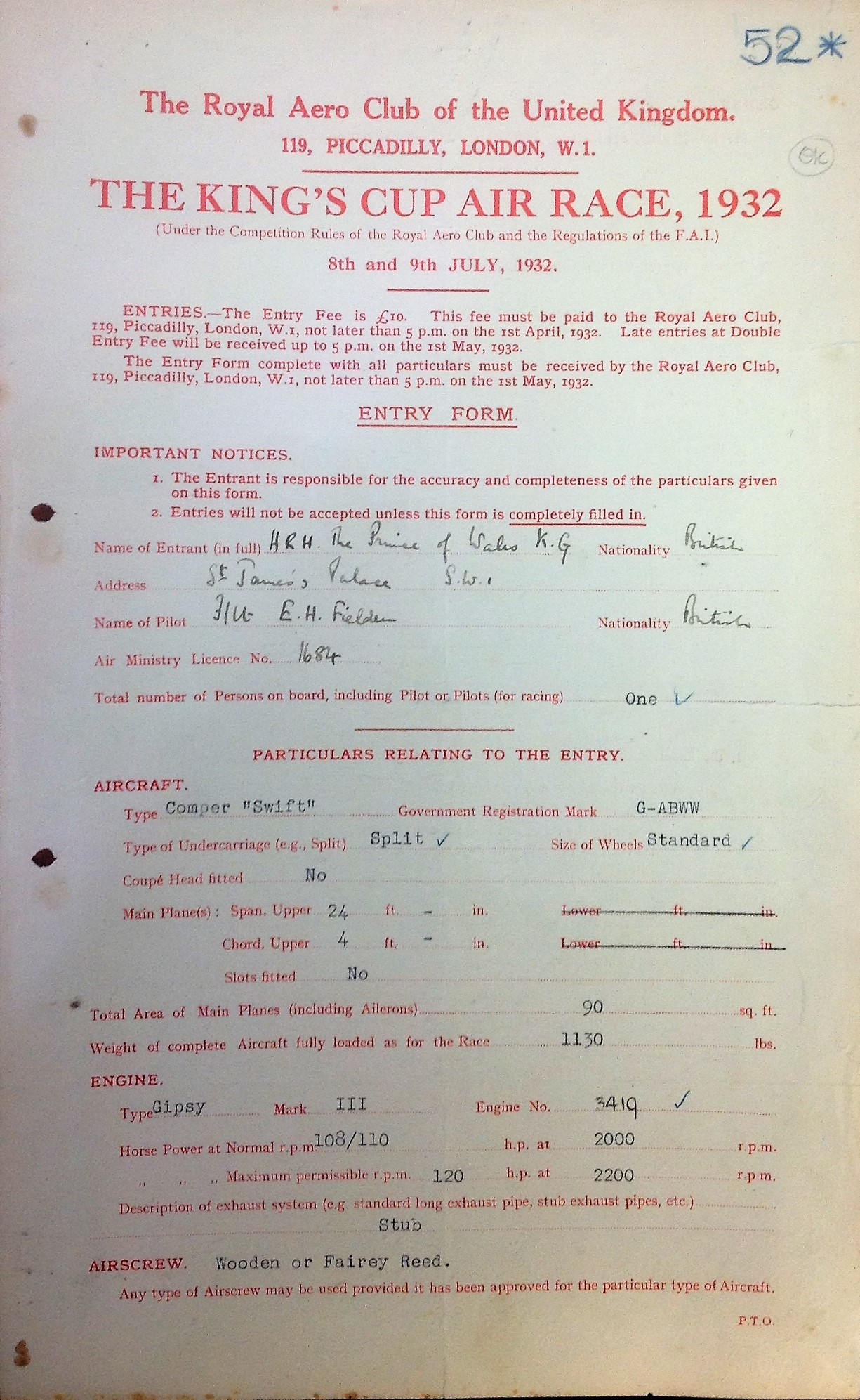 Lot 9 - Edward VIII signed original 1932 Entry form for the Kings Cup Air Race 1932. Amazing document on