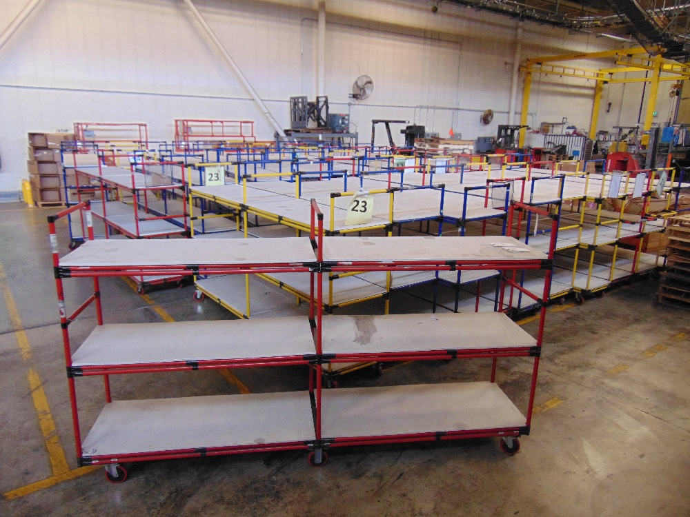 "Lot 31 - 3-Level Inventory Shelf Carts, 24""x112""x65"" Tall"