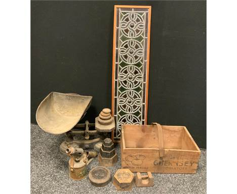 A set of cast iron scoop top scales and assorted weights,  T E Bladon & sons Ltd blowlamp, rectangular stained glass pane