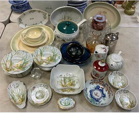 Ceramics & Glass - a French Pillivuyt Molling botanically decorated part table service inc oven dishes, flan dish, tea po