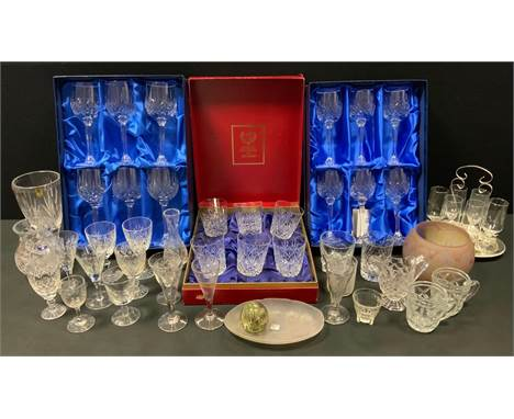 Glass - A pair of 19th century hand etched conical wine glasses, others spiraled etc;  boxed Royal Scot lead crystal wine gla