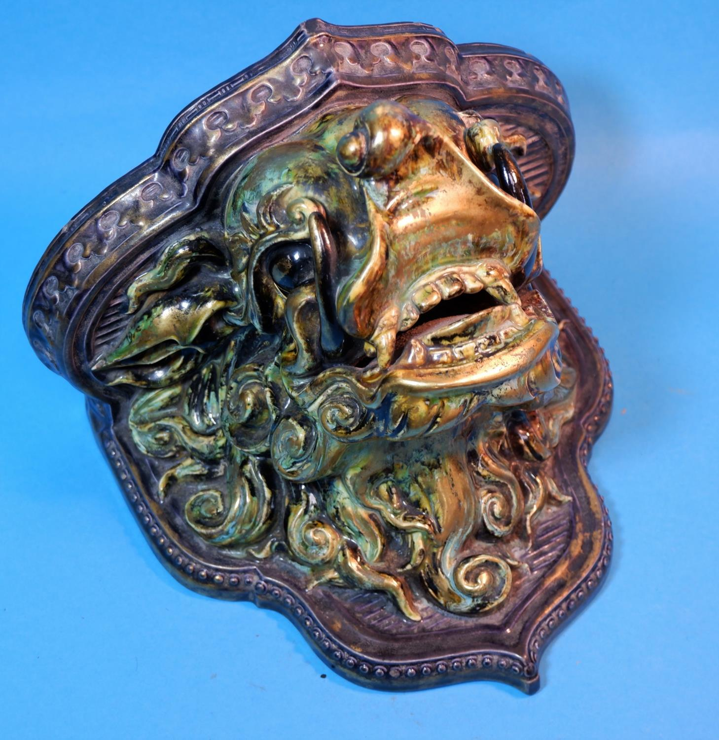 Lot 165A - An unusual Royal Worcester ceramic wall sconce / bracket depicting the head of a Chinese dragon in