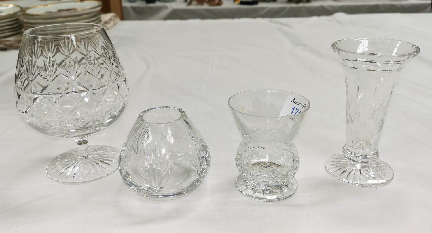 Lot 171 - An Edinburgh etched thistle glass and another, a large Stuart Crystal brandy glass and a similar