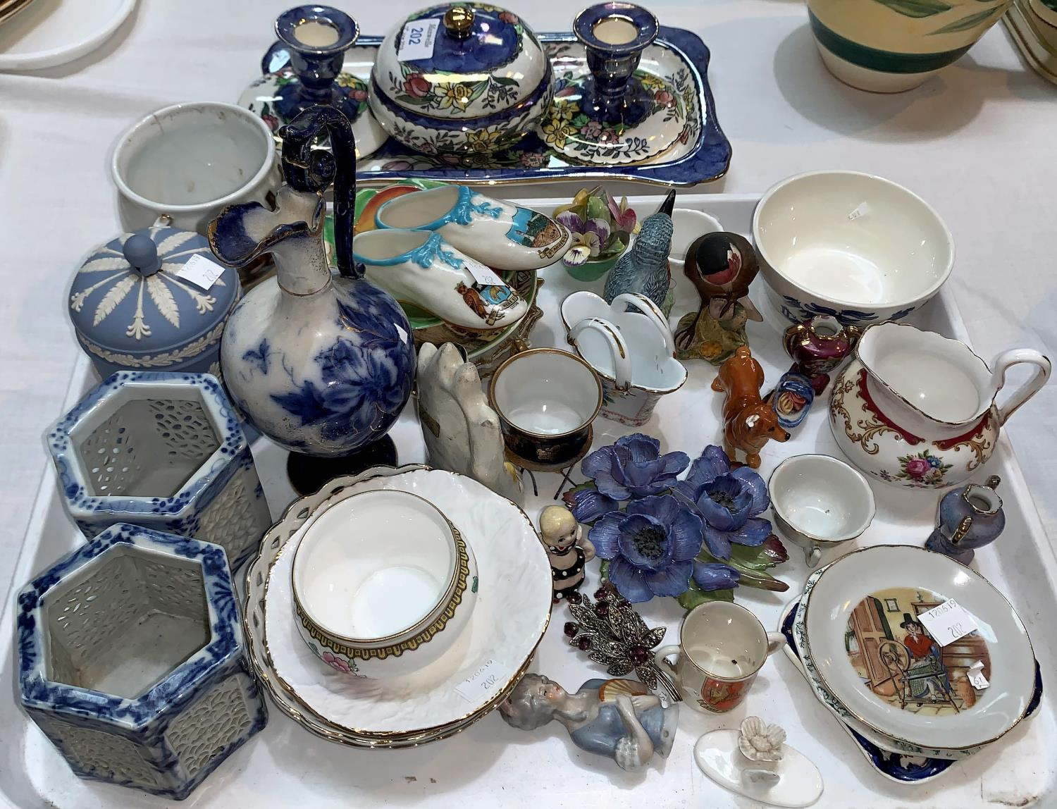 Lot 202 - A Maling lustre dressing table set; miniature and decorative china
