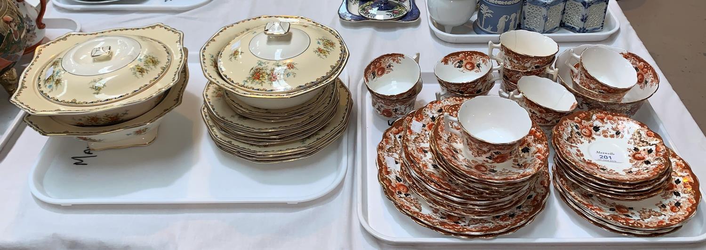 Lot 201 - An early 20th century Wellington Japan part tea set, 35 pieces approx; a Royal Winton floral part