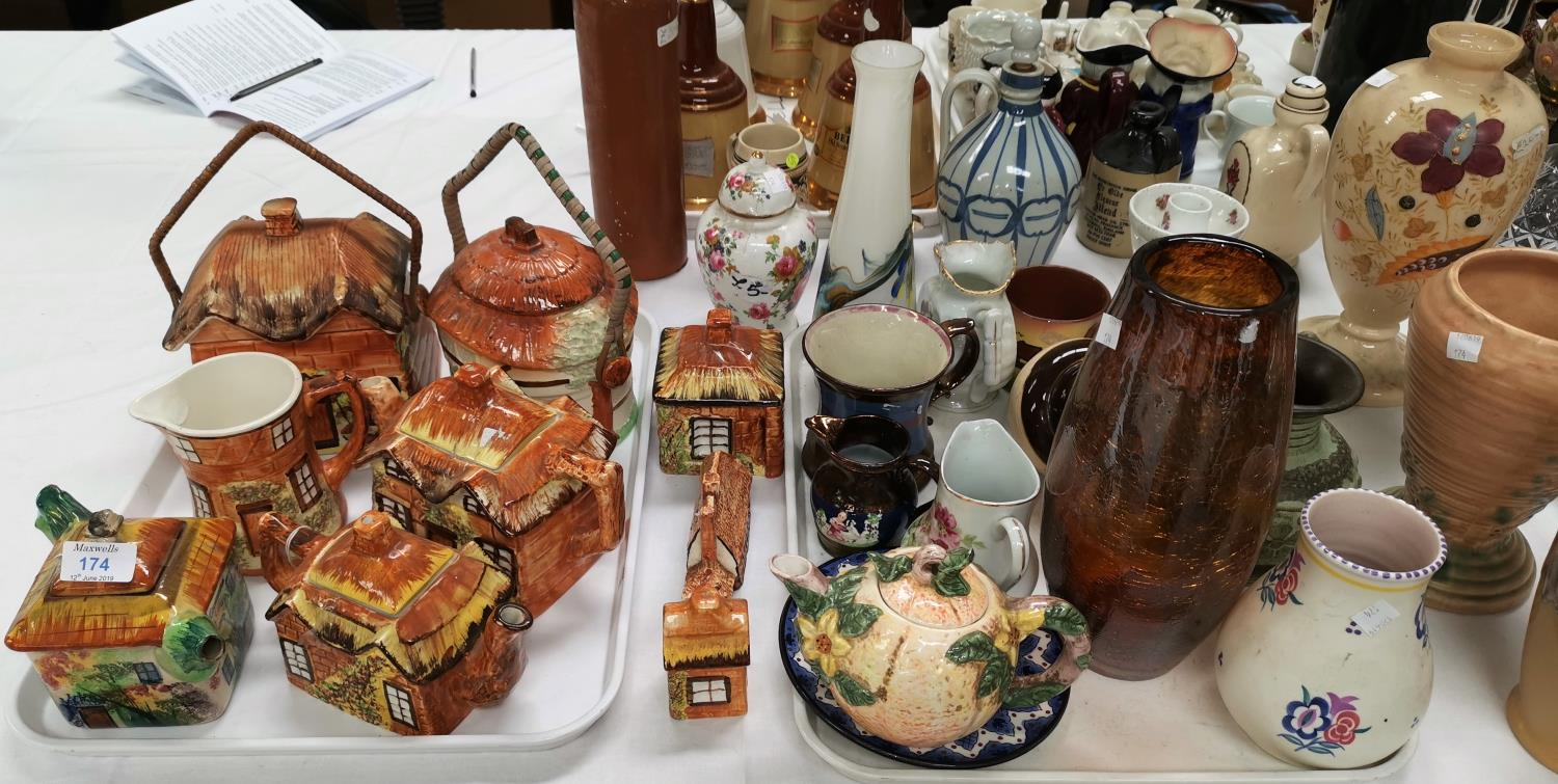 Lot 174 - A selection of cottage teaware; a 1960's Poole vase; a lava ware vase; an Art Deco vase; etc.