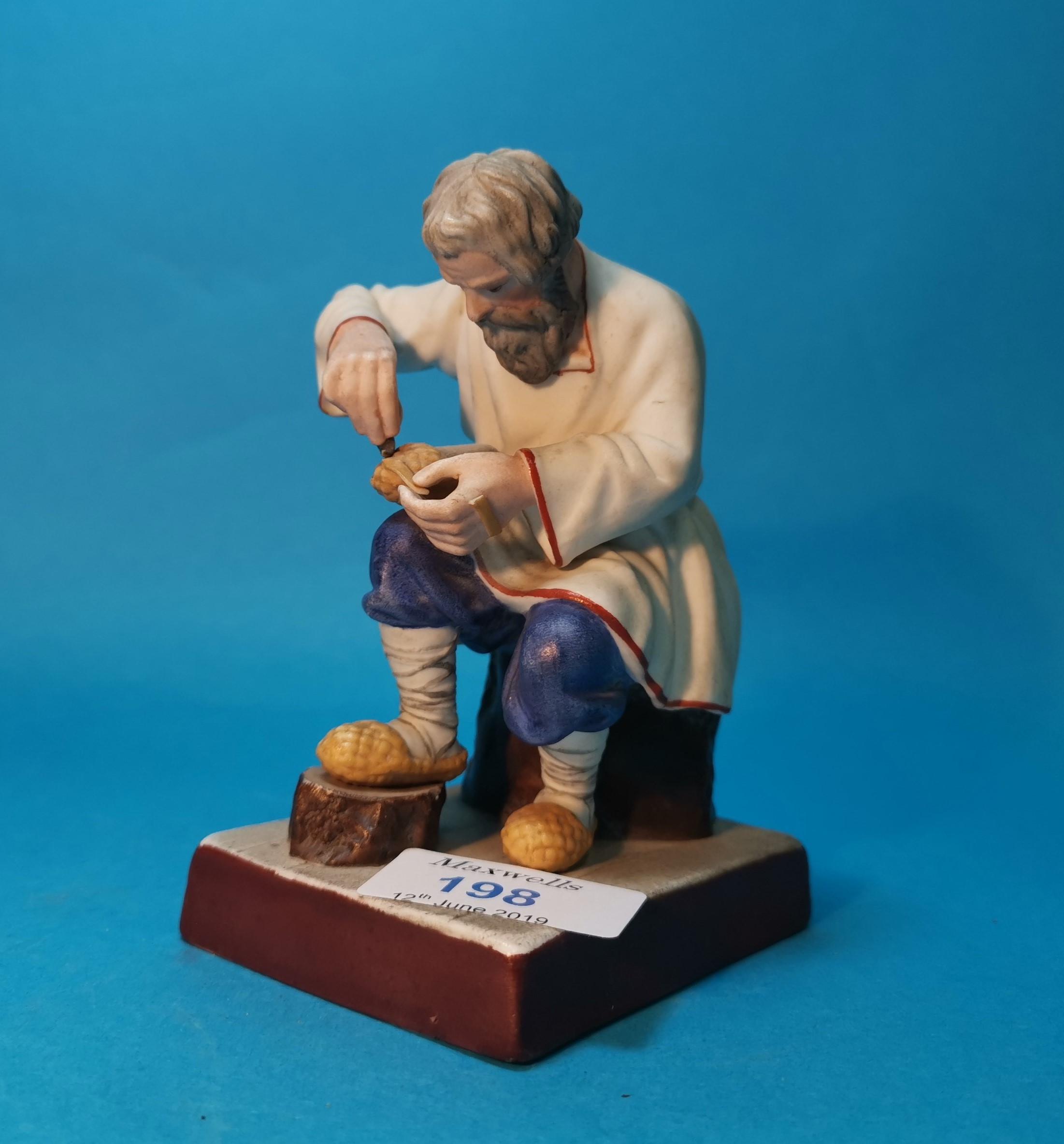 "Lot 198 - A Russian Gardner porelain figure of ""Lapti Plaiter"" (Bast shoemaker, by the Gardner Facory,"